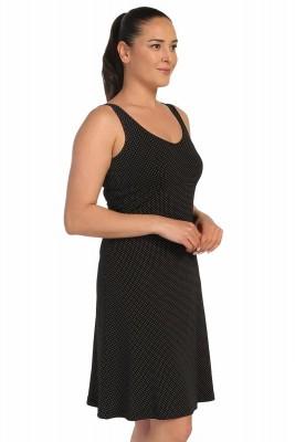 Lir - Bayan Askılı Puantiyeli Kolsuz Elbise Siyah 1257 (1)