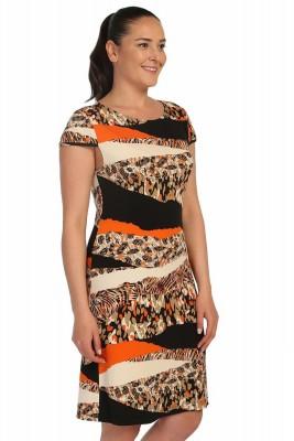 Lir - Bayan Desenli Küçük Kollu Elbise Oranj 1255 (1)