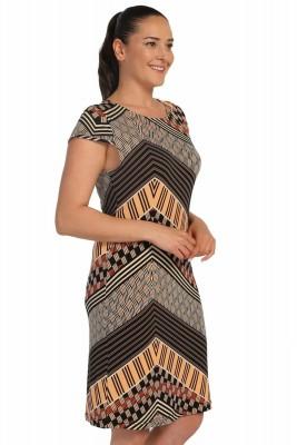 Lir - Bayan Desenli Küçük Kollu Elbise Siyah 1256 (1)