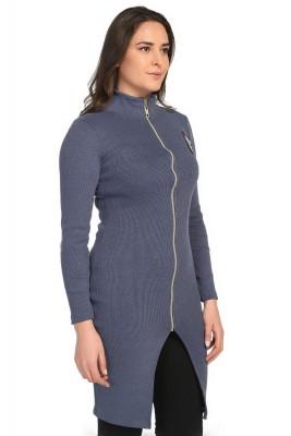 Lir - Bayan Önü Fermuarlı Tunik Elbise Antrasit 1235 (1)