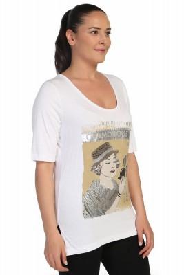 Lir - Bayan Önü Taş Baskılı Bluz Beyaz 2095 (1)