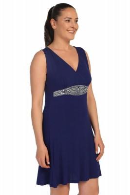 Lir - Büyük Beden Kadın Viskon Taşlı Elbise Saks 1250 (1)