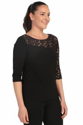 Lir - Kadın Büyük Beden Dantel Detay Bluz Siyah 2099 (1)