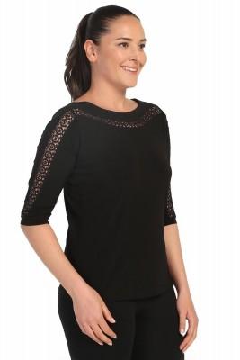 Lir - Kadın Büyük Beden Dantel Detay Bluz Siyah 2100 (1)