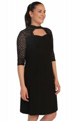 Lir - Kadın Büyük Beden Kolları Dantel Detaylı Elbise Siyah 1249 (1)