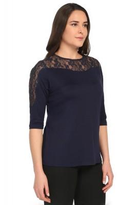 Lir - Kadın Büyük Beden Omuz Dantel Detay Bluz Lacivert 2060 (1)