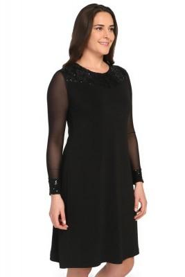 Lir - Kadın Büyük Beden Omuz Kol Ucu Dantel Detay Elbise Siyah 1142 (1)