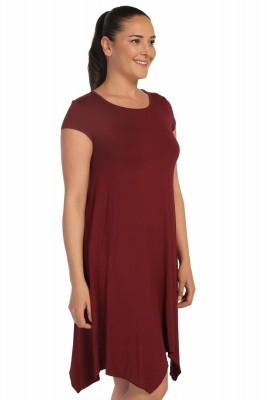 Lir - Kadın Büyük Beden Viskon Kısa Kol Elbise Bordo 1252 (1)