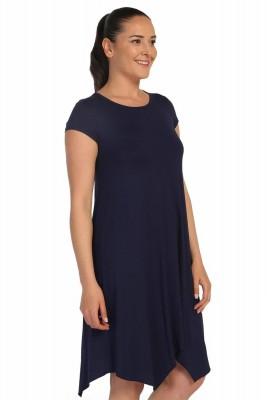 Lir - Kadın Büyük Beden Viskon Kısa Kol Elbise Lacivert 1252 (1)