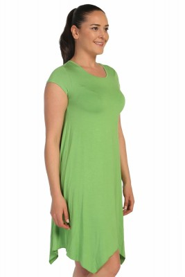 Lir - Kadın Büyük Beden Viskon Kısa Kol Elbise Yeşil 1252 (1)