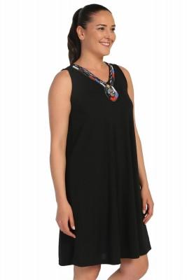 Lir - Kadın Büyük Beden Yakası Boncuk İşlemeli Elbise Siyah 1251 (1)