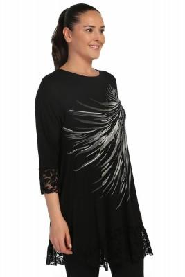 Lir - Kadın Kol ve Etek Ucu Dantel Önü Baskılı Tunik Siyah 3175 (1)