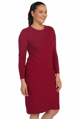 Lir - Kadın Mevsimlik Triko Elbise Fuşya TRK-8537 (1)