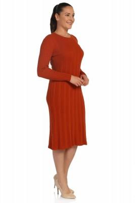 Lir - Kadın Mevsimlik Triko Elbise Kiremit TRK-8538 (1)