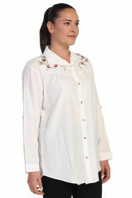 Lir - Kadın Nakışlı Gömlek Beyaz 4014 (1)
