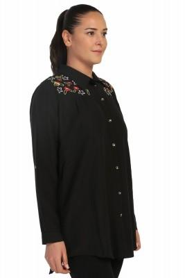 Lir - Kadın Nakışlı Gömlek Siyah 4014 (1)