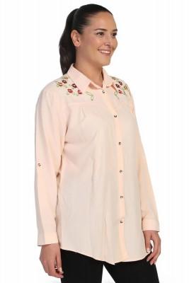Lir - Kadın Nakışlı Gömlek Somon 4014 (1)
