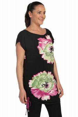 Lir - Kadın Önü Çiçek Baskılı Yarım Kollu Bluz Siyah 2093 (1)