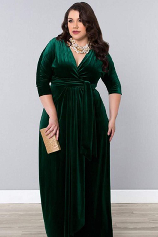 Длинные платья с запахом для полных