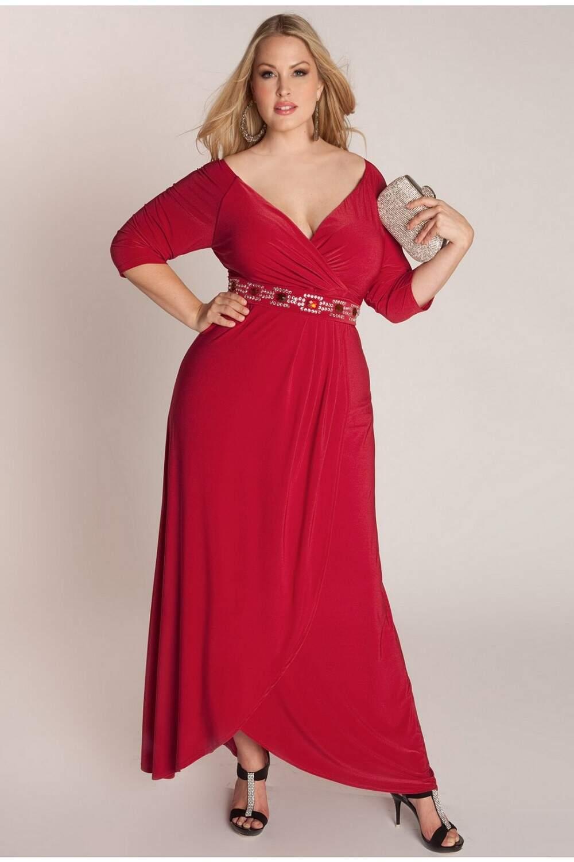 Платья вечерние красные для полных