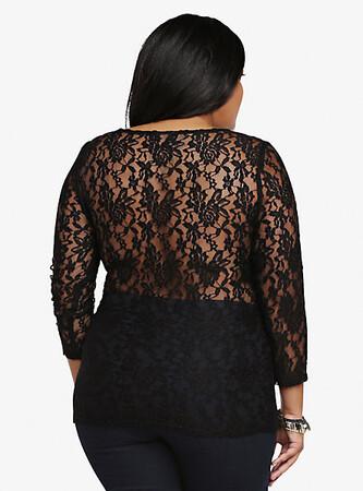 Mangolino Dress - MANGOLİNO DRESS MD6767 Büyük Beden Dantel Bluz 38-60 (1)