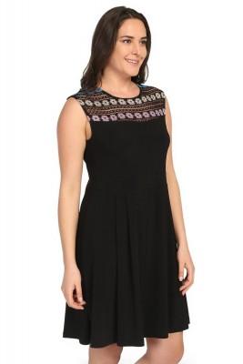 Pianoluce - Kadın Büyük Beden Çiçekli Kolsuz Elbise Siyah 1240 (1)