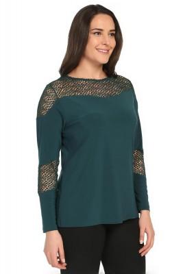 Pianoluce - Kadın Büyük Beden Dantel Detaylı Bluz Yeşil 2080 (1)