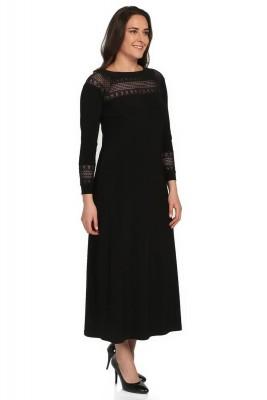 Pianoluce - Pianoluce Kadın Büyük Beden Dantelli Elbise Siyah 1237 (1)