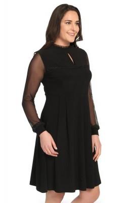 Pianoluce - Kadın Büyük Beden Fırfırlı Dantel Elbise Siyah 1241 (1)
