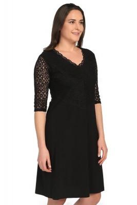 Pianoluce - Kadın Büyük Beden Önü Dantel Kaplı Elbise Siyah 1244 (1)