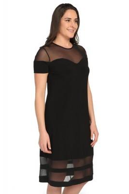Pianoluce - Kadın Büyük Beden Organize Tül Detaylı Elbise Siyah 1238 (1)
