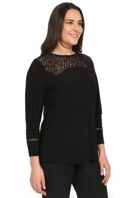 Pianoluce - Kadın Büyük Beden Robası Dantel Bluz Siyah 2082 (1)