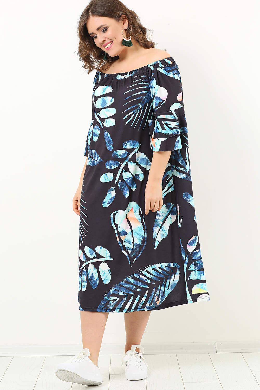 Genç Büyük Beden Yakası Ayarlı Yaprak Desen Elbise KL1742k Siyah