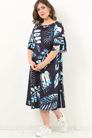 Angelino Butik - Genç Büyük Beden Yakası Ayarlı Yaprak Desen Elbise KL1742k Siyah (1)