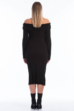 Angelino Style - 8020 Uzun Triko Elbise Siyah (1)