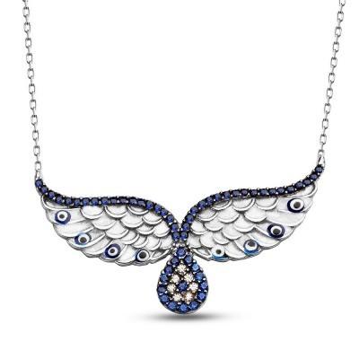 Tesbihane - 925 Ayar Gümüş Mavi Zirkon Taşlı Kanat Kolyesi (1)