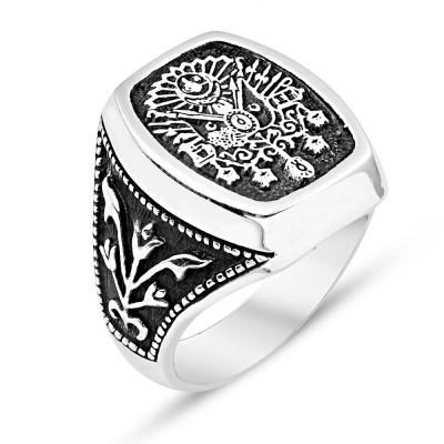 Tesbihane - 925 Ayar Gümüş Osmanlı Armalı Adanalı Dizisi Yüzüğü (1)