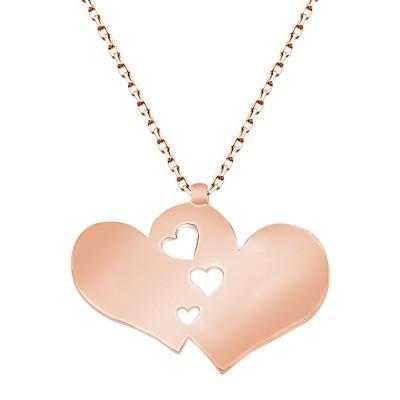 Tesbihane - 925 Ayar Gümüş Roze Kaplamalı Çift Kalp Tasarım Kolye (1)