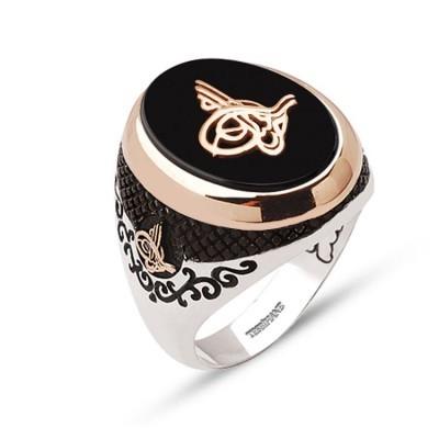 Tesbihane - 925 Ayar Gümüş Tuğra Model Oniks Taşlı Yüzük (1)