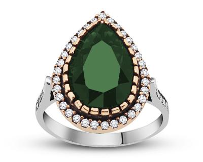 Tesbihane - 925 Ayar Gümüş Yeşil Otantik Yüzük (1)