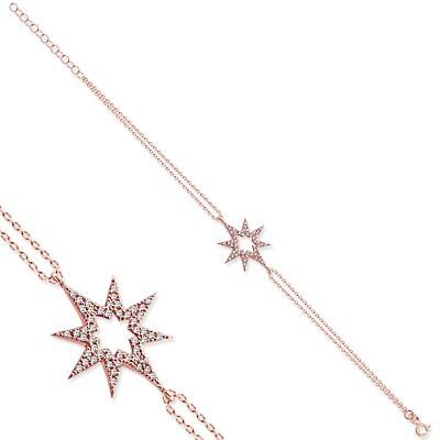 Tesbihane - 925 Ayar Gümüş Zirkon Taşlı Yıldız Bileklik (1)