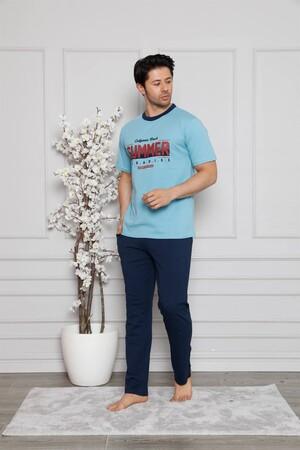 Angelino İç Giyim - Erkek %100 Pamuk Cepli Kısa Kollu Pijama Takımı 6744 (1)