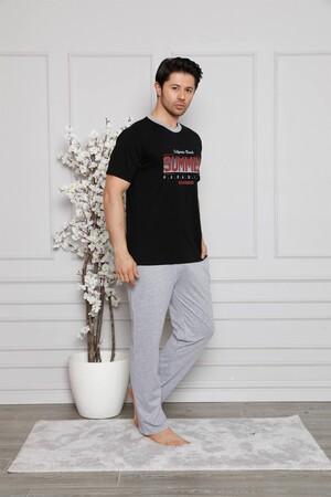 Angelino İç Giyim - Erkek %100 Pamuk Cepli Kısa Kollu Pijama Takımı 6745 (1)