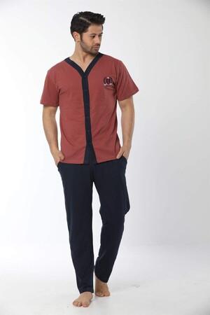 Angelino İç Giyim - Erkek Kiremit Renk Önden Düğmeli Pijama Takım 6537 (1)