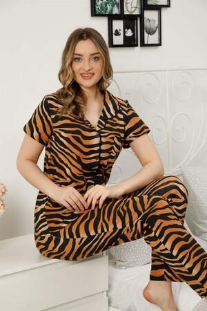 Angelino İç Giyim - Kadın %100 Pamuk Önden Düğmeli Kısa Kol Pijama Takım 2815 (1)