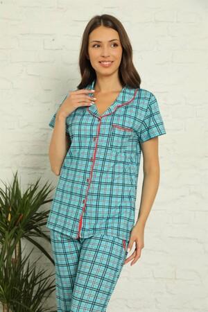Angelino İç Giyim - Kadın %100 Pamuk Önden Düğmeli Kısa Kol Pijama Takım 2831 (1)