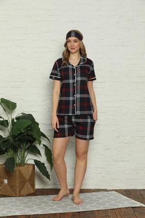 Angelino İç Giyim - Kadın %100 Pamuk Penye Kısa Kol Şortlu Pijama Takım 4318 (1)