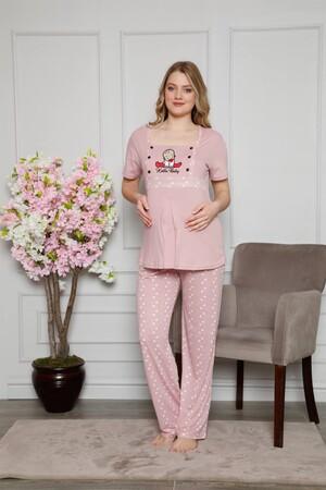 Angelino İç Giyim - Kadın %100 Pamuklu Hamile Pijama Takımı 4508 (1)