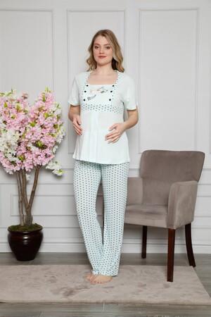 Angelino İç Giyim - Kadın %100 Pamuklu Hamile Pijama Takımı 4509 (1)