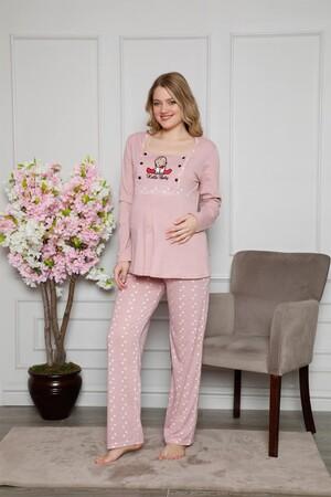 Angelino İç Giyim - Kadın %100 Pamuklu Hamile Pijama Takımı 4515 (1)